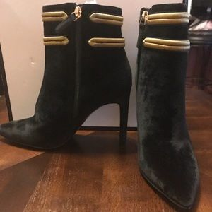 Nine West Suede Black Ankle Heel Boots